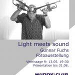 """Plakat zur Ausstellung """"Light meets sound'"""